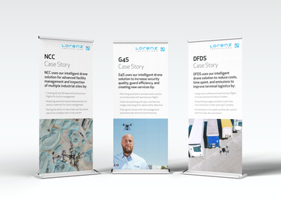 Roll-ups | Lorenz Technology ApS graphic design startup technology case story surveillance drones robotics denmark tech startup lorenz technology event trade show banner roll-up design roll-ups rollup rollups printed material print design print