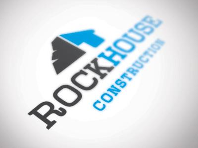 Rockhouse Construction Logo Concept logo rock house construction vector slab serif modern home branding