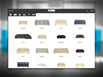 Catalog UI Design ui ux furniture catalog webdesign browse products grid minimalist clean