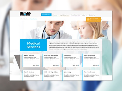 Reflex Medical Centre ui ux webdesign website interface grid card services medical doctors health