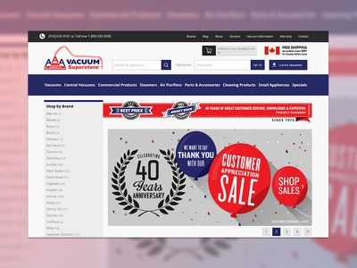 AAA Vacuum E-Commerce Website ui interface ux uxdesign webdesign userexperience shopping cart uidesign website