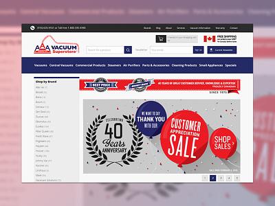 AAA Vacuum E-Commerce Website ui interface ux uxdesign webdesign userexperience shopping cart uidesign website