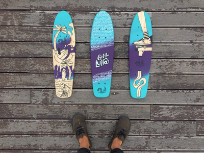 Effe X Oh Luna Collective lettering painting handpaiting typography skateboard illustration design