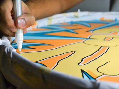 Sun Dye - Hand Painted Drum montanacolors sundye music drums custom design lettering graffiti illustration