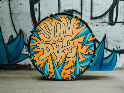 Sun Dye - Custom Drum Illustrattion handpaiting sundye hand lettering drums custom music graffiti illustration lettering design