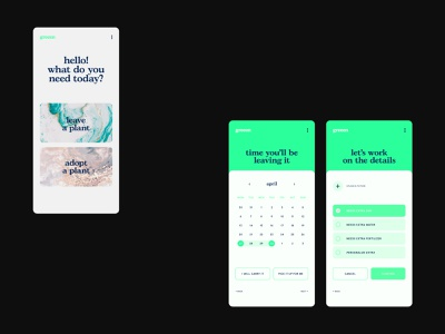 Greeen typography interaction plants app plants ui minimal app branding design