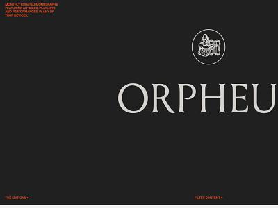 Orpheus desktop black elegant minimal music app music opera typography interaction ui ui design design app branding design