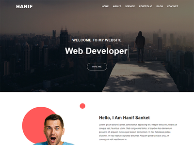 Hanif Personal Portfolio Template modern design corporate design illustration bootstrap4 branding personal branding landing page design clean design creative design bootstrap template responsive bootstrap minimal clean nice freelancer resume creative portfolio personal