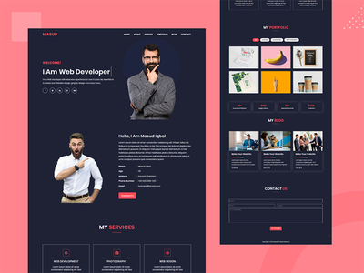 Masud Personal Portfolio Template minimal web template webdesign clear freelancer bootstrap template creative design landing page design bootstrap4 css3 html5 resume design responsive design multipurpose template clean design modern resume portfolio website portfolio design personal