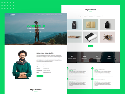 Manik Personal Portfolio Template person clean responsive design resume personal project portfolio website portfolio page personal branding illustration nice branding corporate bootstrap modern design minimal creative design freelancer bootstrap4 landing page design bootstrap template