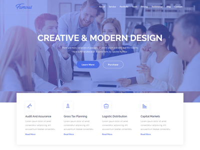 Famous - Digital Corporate Business Template landing page design materialdesign branding company factory minimalist agency landing page clean design nice minimal logo html5 creative design html template corporate design corporate business bootstrap bootstrap template agency