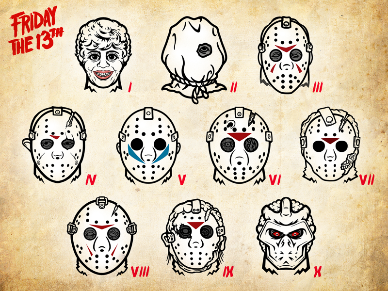 Friday the 13th Killer Icons graphic design hockey 80s horror masks icons photoshop illustrator friday the 13th