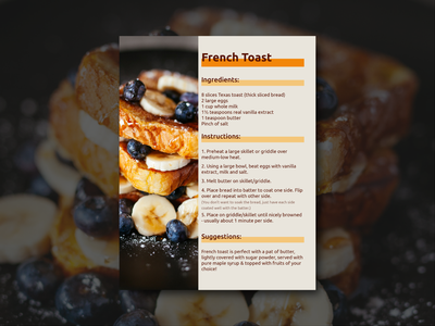 French Toast Recipe Card dessert french toast recipe food indesign ux ui weekly warm-up typography adobe illustrator design