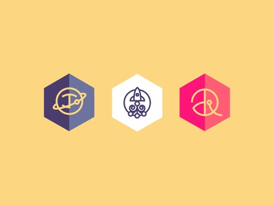 Logo Icons Study icon space planet rocket lines vectors flat geometric yellow purple pink white