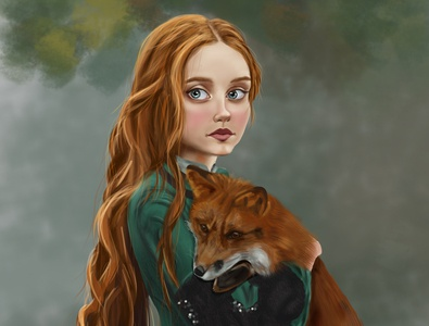 The girl with fox digital painting nature green painting artwork animal art animal fox girl graphic tablet huion photoshop digital painting digitalart illustration