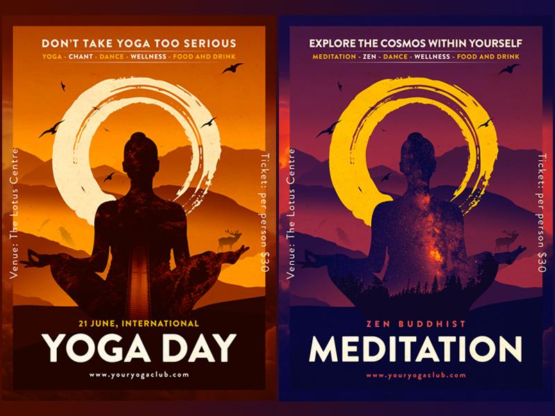 printable yoga and meditation posters flyers by erka budagchin