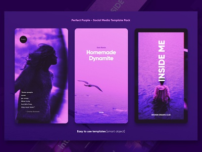 Social Media Template Pack - Purple Instagram story
