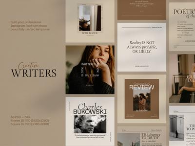 Social media template for creative writers, poets, storytellers