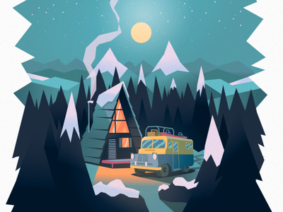 Dream Cabin vector chill winter snow fireplace cosy vectorart illustration illustrator truck cabins mountain