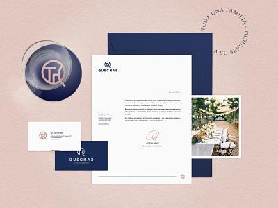 Quechas Furniture Rental elegant quechas table logo chair furniture stationery paper business card design branding