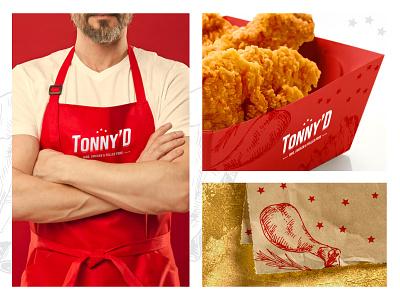 Tonny'D Ribs, Chicken & Pulled Pork stars logo fried chicken fast food redesign red branding typography logo restaurant kitchen brand chicken design branding logo