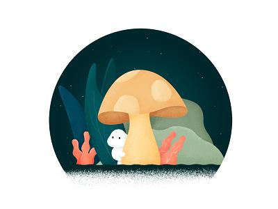 Shy Mushroom leaves night noise grain shy mushroom illustration