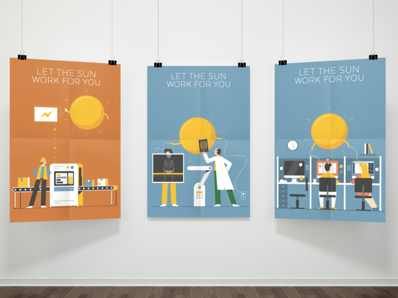 ReneSola Employ the Sun Illustrations drawing illustration digital campaign poster design poster illustration design illustration