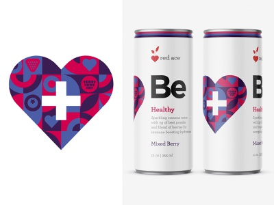 Red Ace Be Healthy healthy eating healthy food package design product design consumer goods branding design brand identity packaging design packaging can design beverage logo beverage packaging beverage design beverage sparkling water