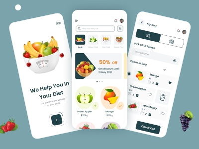 Fruit delivery app ui clean design food food app ecomerce iphone app ios app ui ux design uidesign clean ui app ui ui design ui