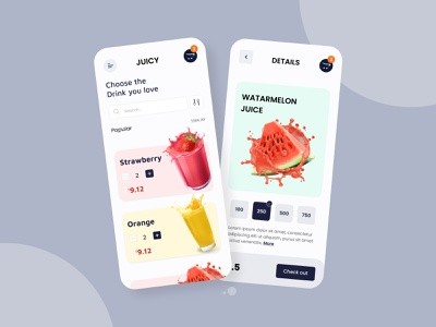 Juicy app ui concept designer trendy design mhalam food and drink food delivery food app online store online shop juice app juice ecommerce app app ui ux design uxalam app ui uidesign ui design clean ui ui