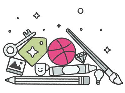Creative Market + Dribbble! branding vector icons design illustration