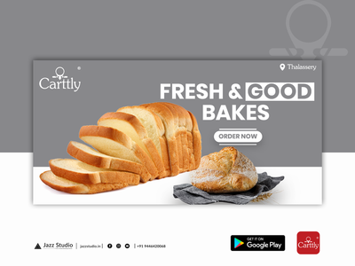 Carttly App UI Design Banner godsowncountry kerala kannur thalassery carttly foodie bakeshop app design food app food ux illustration ui app design jazzstudio brandingreimagined branding