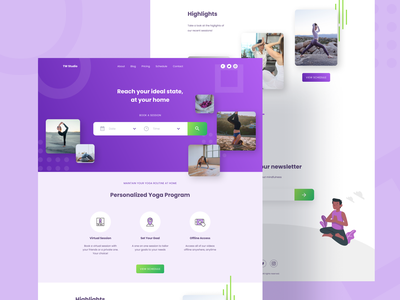 Yoga trainer online session booking booking web design clean creative trainer yoga uiux ui theme landing page landing fitness modern