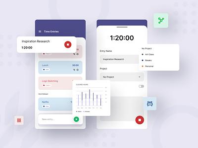 Time Tracker UI Elements productivity ui  ux ui design interface mobile app chart timer mobile ui elements