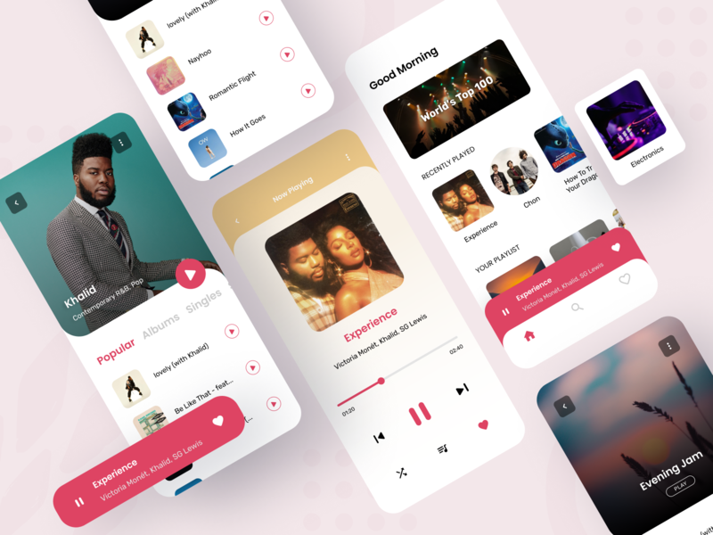 Music UI mobile app design design ui concept song playlist artist ios android media player media light mobile ux ui music player clean app music