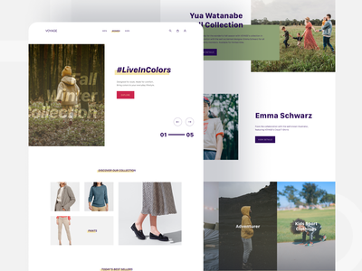 Voyage - E-commerce Web UI Design homepage landing page web design ui design store product interface ecommerce design clothing clothes app