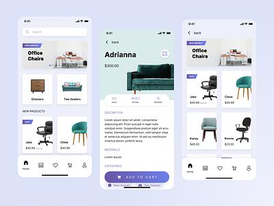 Furniture Store Mobile UI furniture pastel e-commerce store design clean product interface ui design