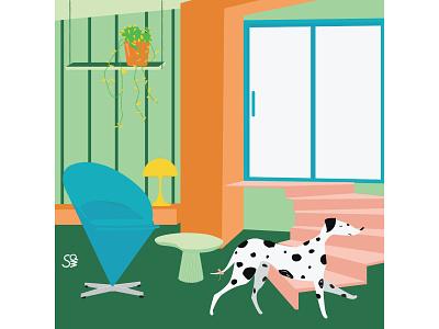 Cone Chair dalmatian furniture interior interior design flat illustration adobe illustration flatdesign adobe illustrator digital illustration vector design illustration