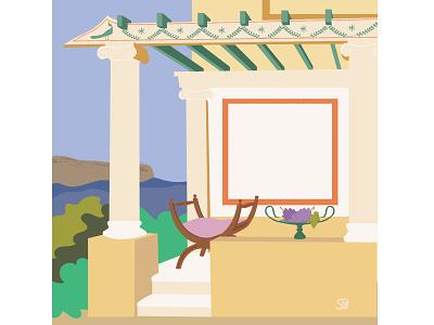 Medival romangarden garden architecture curulechair medival romanstyle ancientroman design adobe illustration flatdesign adobe illustrator digital illustration vector design illustration