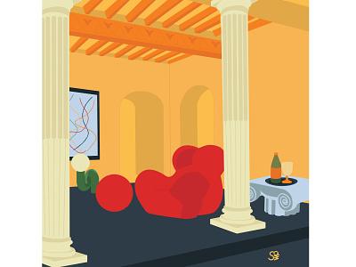 modern medieval interior home medieval modern furniture interior interior design flat  design flat illustration adobe illustration flatdesign adobe illustrator digital illustration vector design illustration