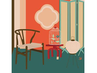 wishbone chair wishbone homedesign furniture interior interior design flat  design flat illustration adobe illustration flatdesign adobe illustrator digital illustration vector design illustration