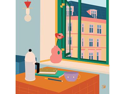 Paris Morning flat  design digital illustration morning coffee stilllife interior interior design flatdesign adobe illustration flat illustration vector design illustration