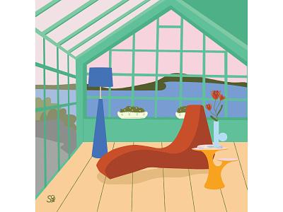 Green house interior architecture furniture interior interior design vector flat  design flat illustration adobe illustration flatdesign adobe illustrator digital illustration vector design illustration