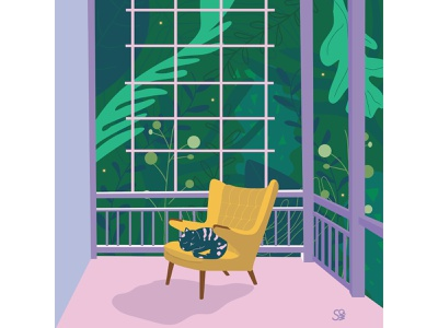 Summer night... 🐈 💫 🌱 foliage garden cat sleeping summer vector flat illustration adobe illustration flatdesign adobe illustrator digital illustration vector design illustration