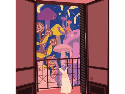 Magical Night ✨🔮🐰🍄 mushroom rabbit whimsy whimsical blacony adobe illustrator flatdesign flat illustration digital illustration vector design illustration