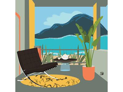 Barcelona Chair furniture interior interior design flat illustration adobe illustration flatdesign adobe illustrator digital illustration vector design illustration