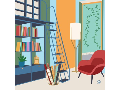 study room books studyroom interior adobe illustration furniture flat  design interior design flatdesign adobe illustrator digital illustration vector design illustration
