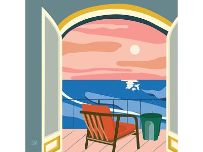 Pink Sky pink sea balcony furniture interior interior design flat illustration adobe illustration flatdesign adobe illustrator digital illustration vector design illustration