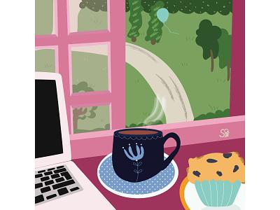 lovely day stilllife pink interior interior design flat  design vector flatdesign adobe illustrator digital illustration vector design illustration
