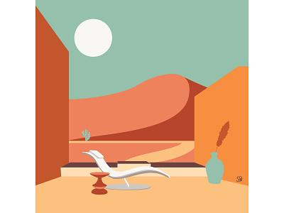 Quiet moment furniture desert minimalist minimalism design flat  design vector adobe illustration flatdesign adobe illustrator digital illustration vector design illustration